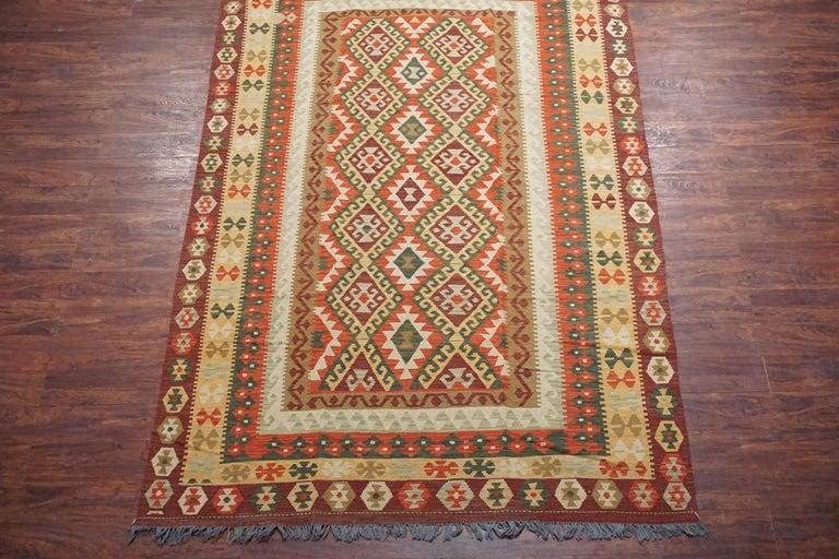Hand-Knotted Afghan Tribal Chobi Kilim Rug For Sale