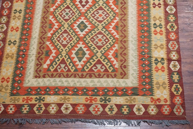 Wool Afghan Tribal Chobi Kilim Rug For Sale