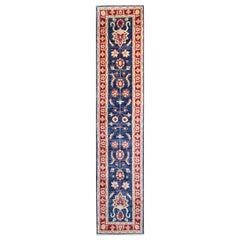 Afghan Ziegler Style Runner Rug, Blue Wool Rug