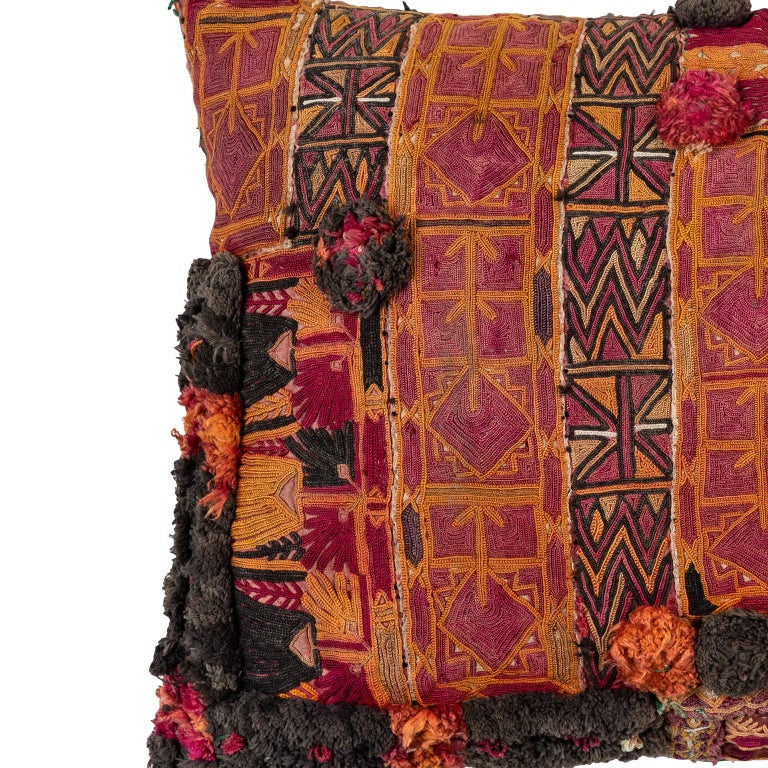 Embroidered Afghani Pashtun Pillow For Sale