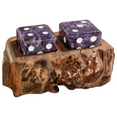 Afora Dice Set in Amethyst and Wood by Anna Rabinowitz