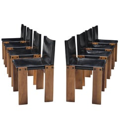 Afra & Tobia Scarpa 'Monk' Chairs in Black Leather