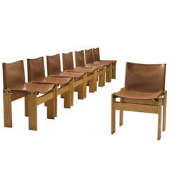 Afra & Tobia Scarpa Set of Eight 'Monk' Chairs in Cognac Leather