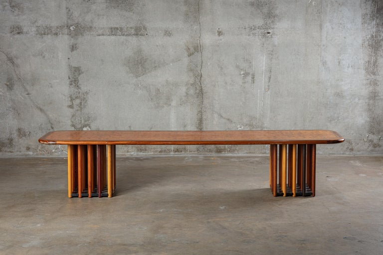 Italy: Afra & Tobia Scarpa walnut, burl walnut, rosewood, and ebony coffee table, from the