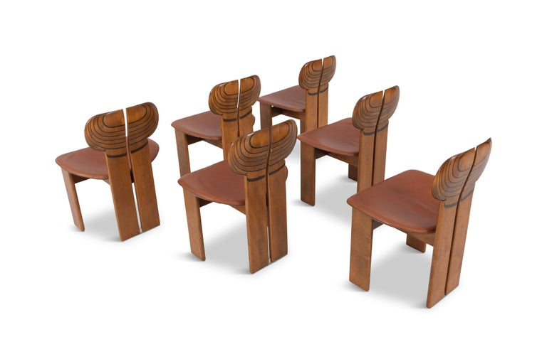 Afra and Tobia Scarpa Africa Chairs with Cognac Leather Seating For Sale 5