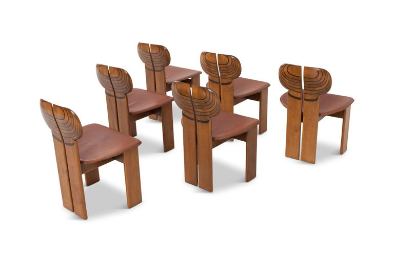 Italian Afra and Tobia Scarpa Africa Chairs with Cognac Leather Seating For Sale