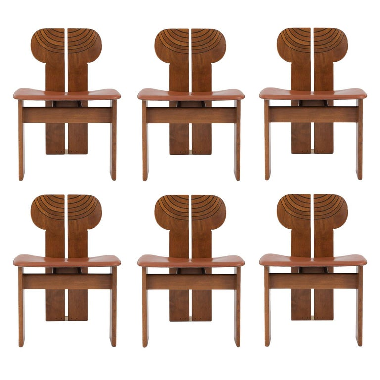 Afra and Tobia Scarpa Africa Chairs with Cognac Leather Seating For Sale