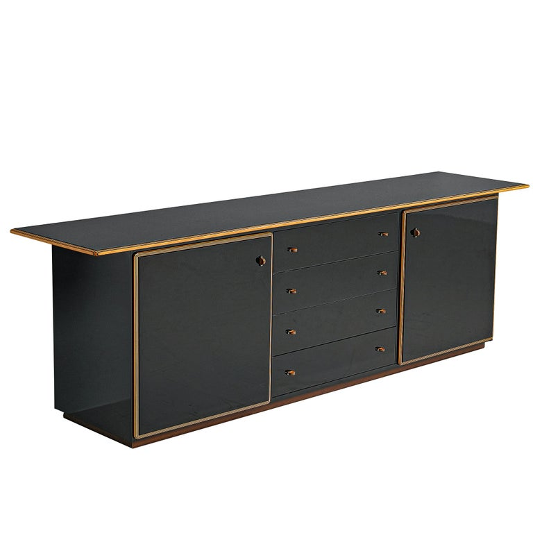 Afra and Tobia Scarpa for Maxalto, 'Artona' cabinet, walnut and four leather doors, Italy, circa 1975.