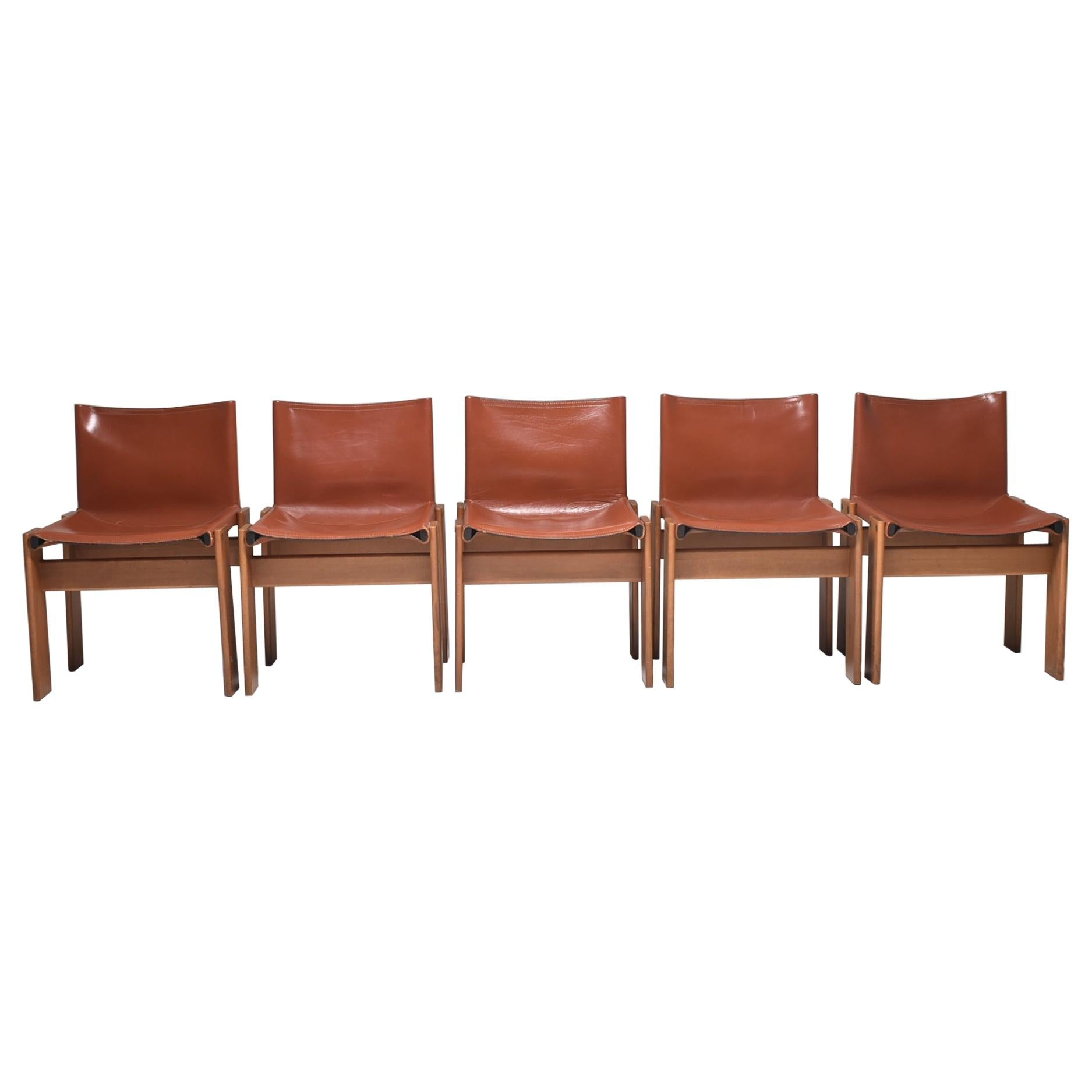 """Afra & Tobia Scarpa Camel Leather """"Monk"""" Chairs For Molteni, Set of 5, Italy"""