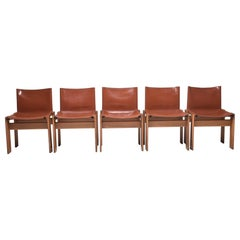 "Afra & Tobia Scarpa Camel Leather ""Monk"" Chairs For Molteni, Set of 5, Italy"