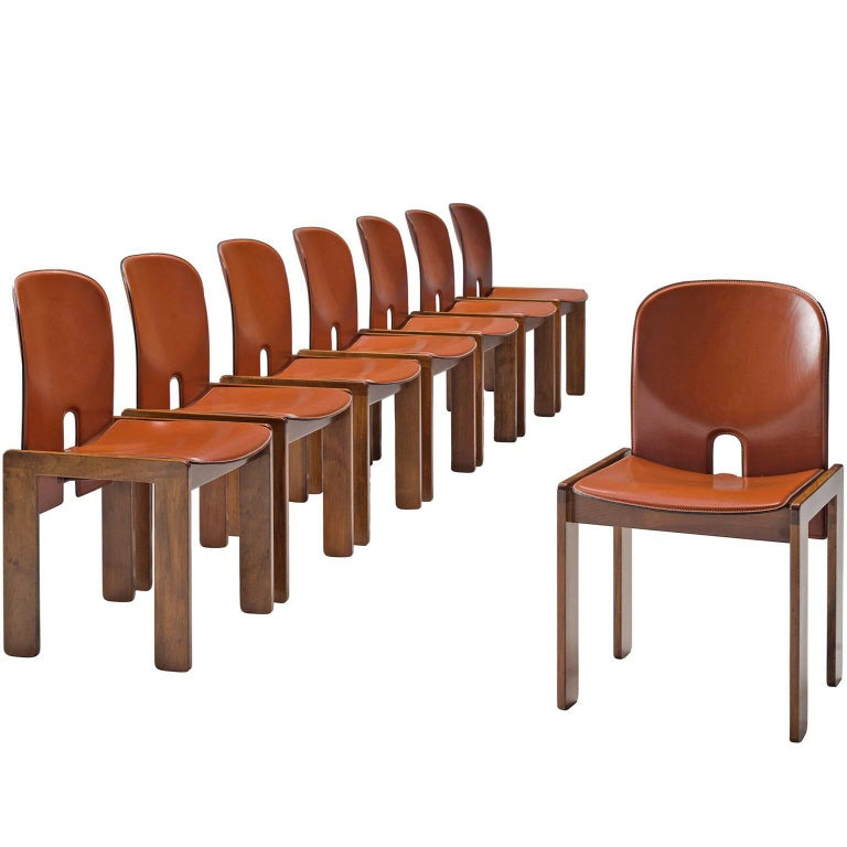 Afra and Tobia Scarpa Chairs in Leather Terracotta and Walnut