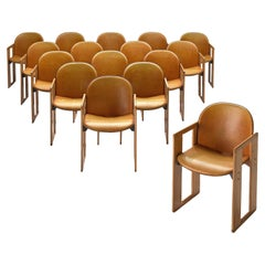 Afra & Tobia Scarpa Dialogo Cognac Leather Dining Chairs