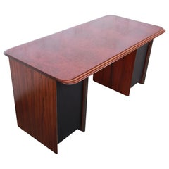 Afra and Tobia Scarpa for B&B Italia Rosewood, Burl, and Leather Desk, 1970s