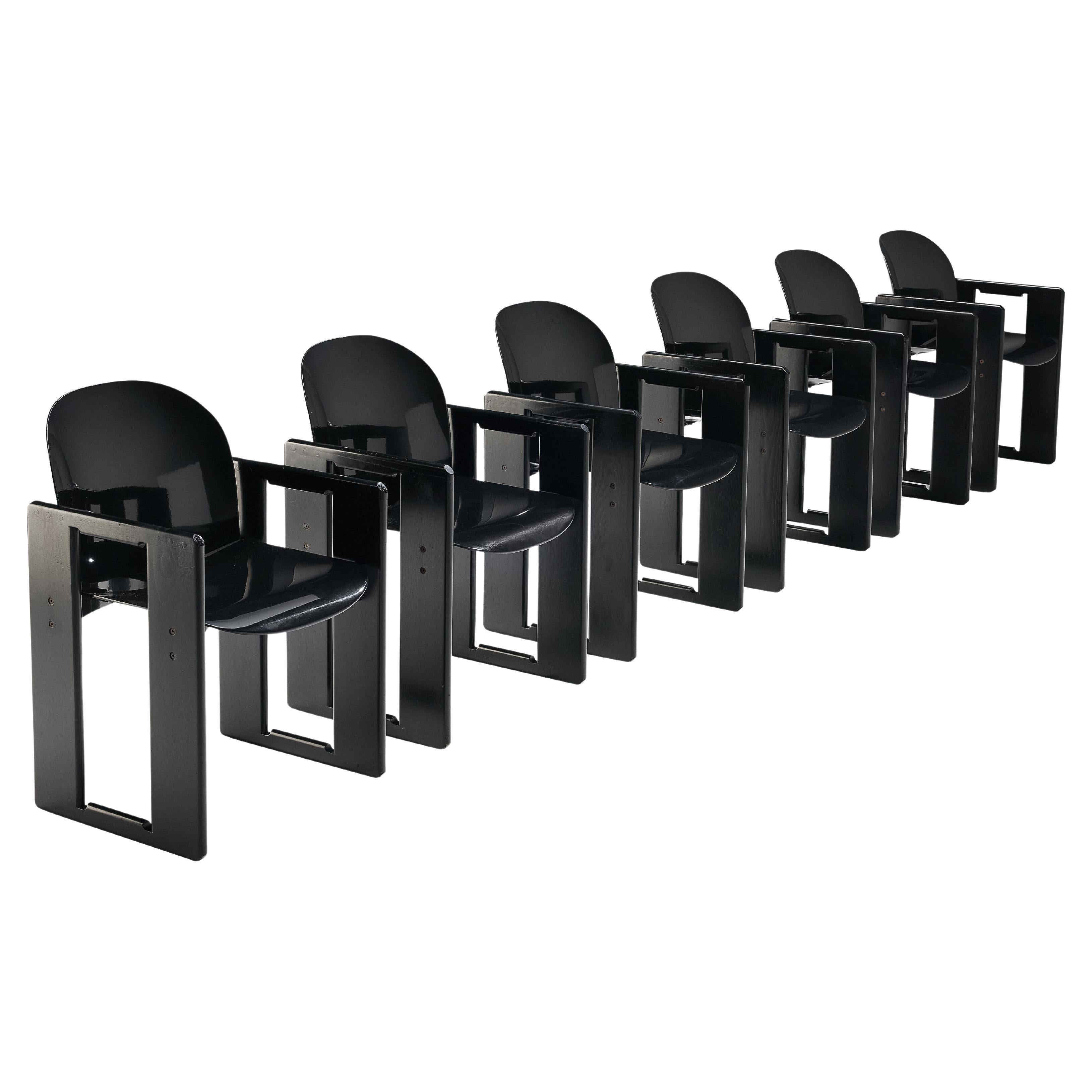 Afra and Tobia Scarpa for B&B Set of Six 'Dialogo' Dining Chairs in Black