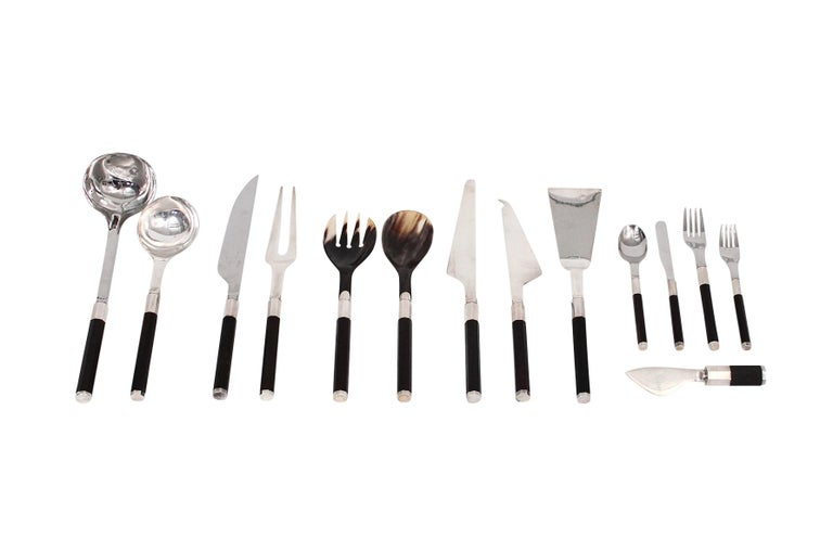 Mid-Century Modern Afra and Tobia Scarpa for San Lorenzo Studio Silver Flatware For Sale