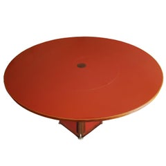 Afra and Tobia Scarpa Italian Maxalto Red Wood Circular Table with Rosewood Edge