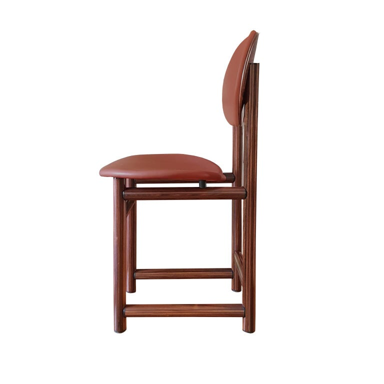 Post-Modern Afra and Tobia Scarpa Italian Maxalto Set of Four Chairs in Rosewood and Leather For Sale