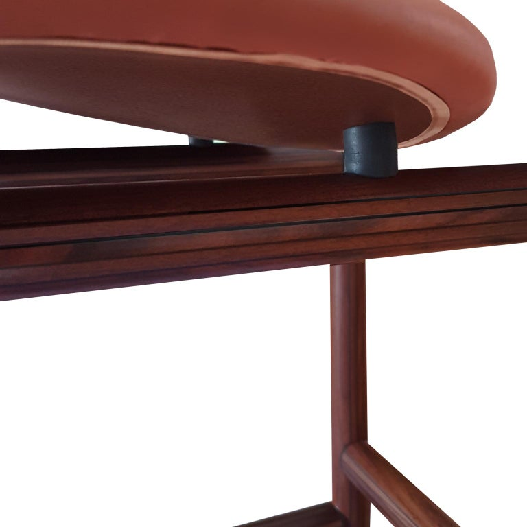 Afra and Tobia Scarpa Italian Maxalto Set of Four Chairs in Rosewood and Leather For Sale 1