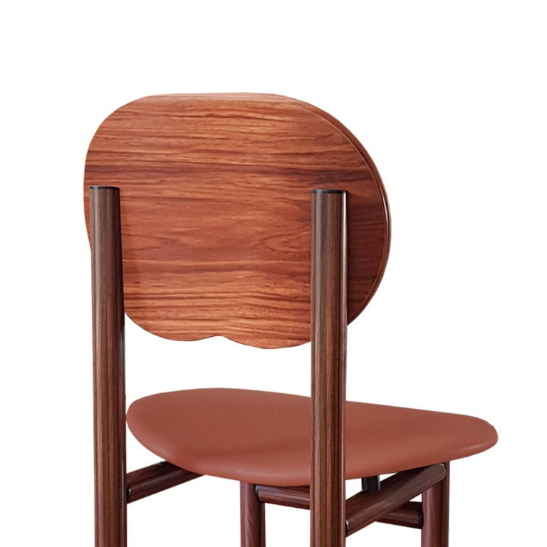 Afra and Tobia Scarpa Italian Maxalto Set of Four Chairs in Rosewood and Leather For Sale 2