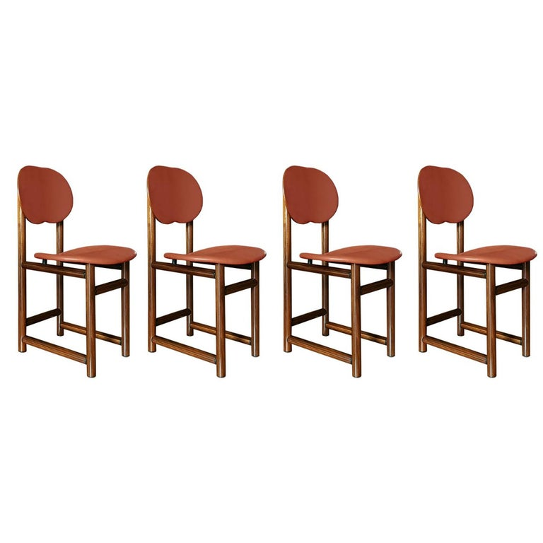 Afra and Tobia Scarpa Italian Maxalto Set of Four Chairs in Rosewood and Leather For Sale