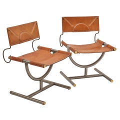 Afra and Tobia Scarpa Leather Chairs, for Benetton, Italy, circa 1985