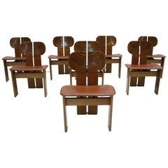 "Afra and Tobia Scarpa Mid-Century Modern Set of Eight ""Africa"" Italian Chairs"