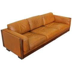 """Afra and Tobia Scarpa Mod. """"920"""" Brown Leather  Sofa for Cassina, Italy '60"""