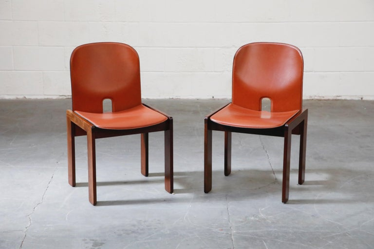Modern Afra and Tobia Scarpa Model 121 Rosewood Side Chairs for Cassina, Signed For Sale
