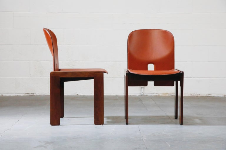 Italian Afra and Tobia Scarpa Model 121 Rosewood Side Chairs for Cassina, Signed For Sale
