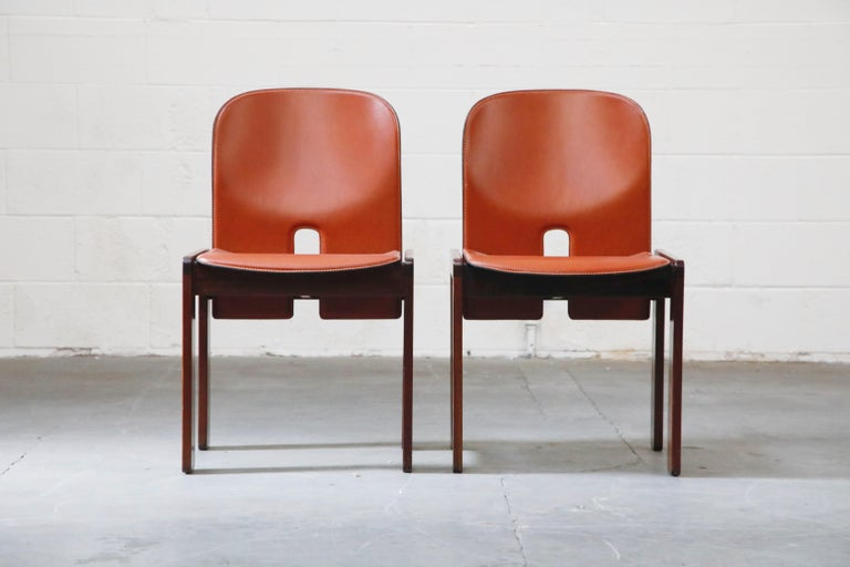 Afra and Tobia Scarpa Model 121 Rosewood Side Chairs for Cassina, Signed In Excellent Condition For Sale In Los Angeles, CA