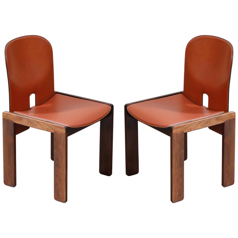 Afra and Tobia Scarpa Model 121 Rosewood Side Chairs for Cassina, Signed For Sale