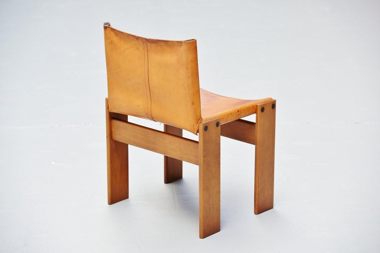 Leather Afra and Tobia Scarpa Monk Chairs Molteni Italy, 1974 For Sale