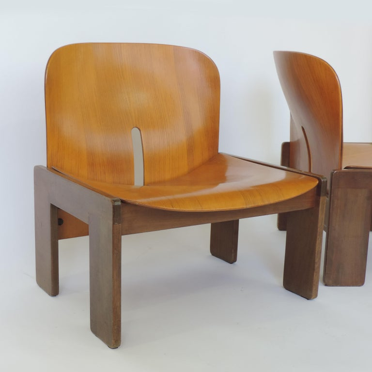 Mid-Century Modern Afra & Tobia Scarpa Pair of 925 Easy Chairs for Cassina, Italy, 1966 For Sale
