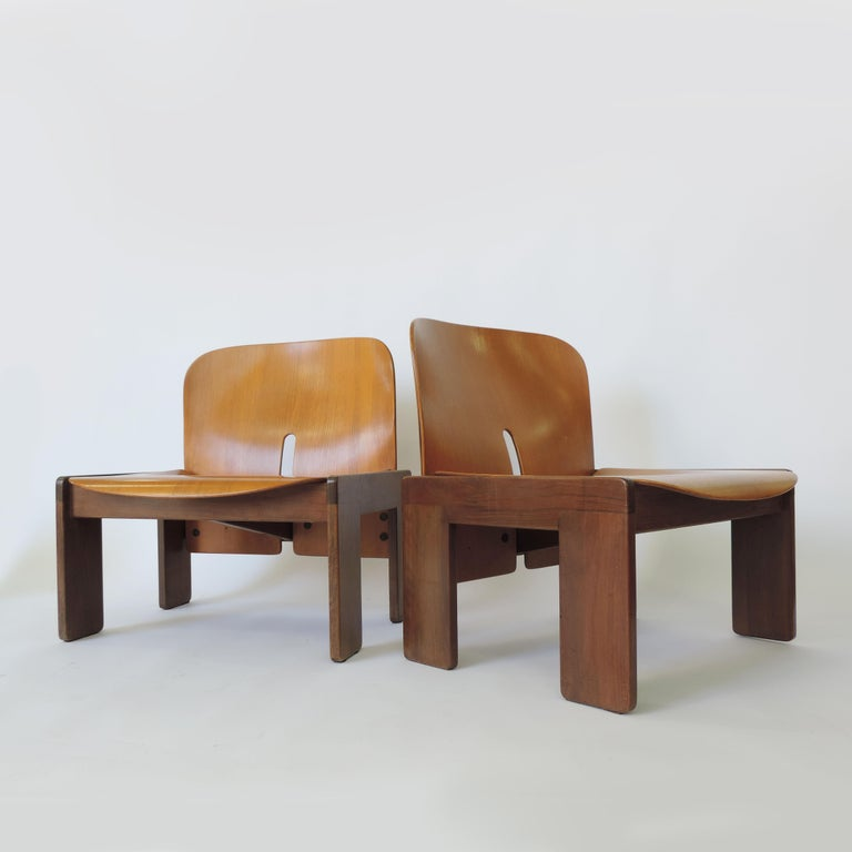 Italian Afra & Tobia Scarpa Pair of 925 Easy Chairs for Cassina, Italy, 1966 For Sale