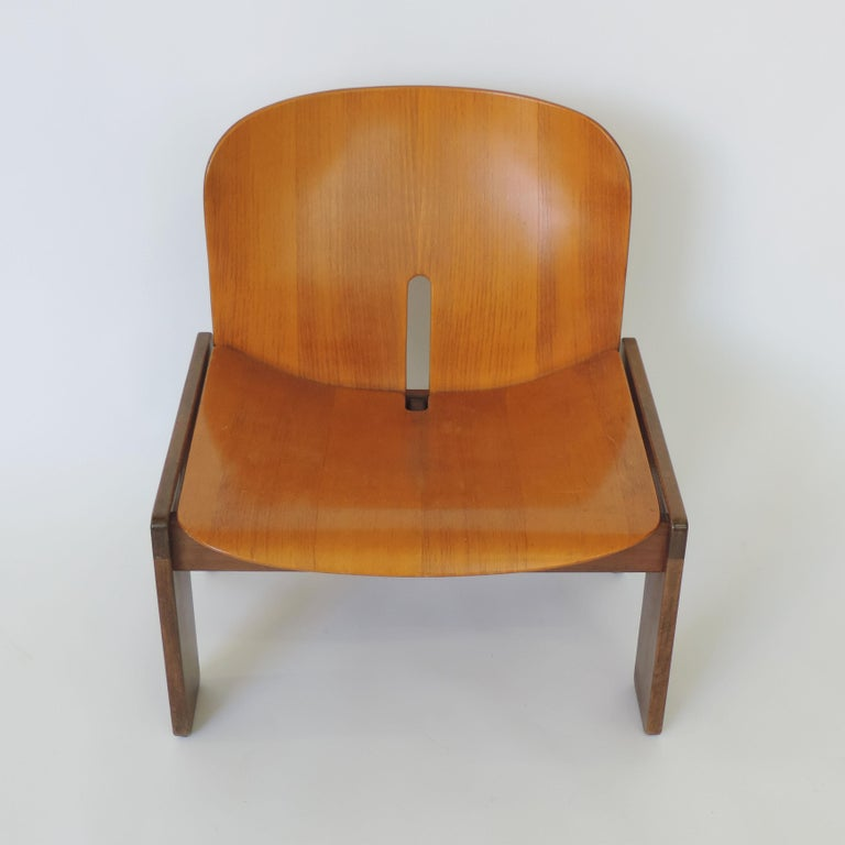 Wood Afra & Tobia Scarpa Pair of 925 Easy Chairs for Cassina, Italy, 1966 For Sale