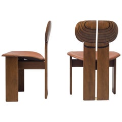 Afra and Tobia Scarpa pair of Africa Chairs with Cognac Leather Seating