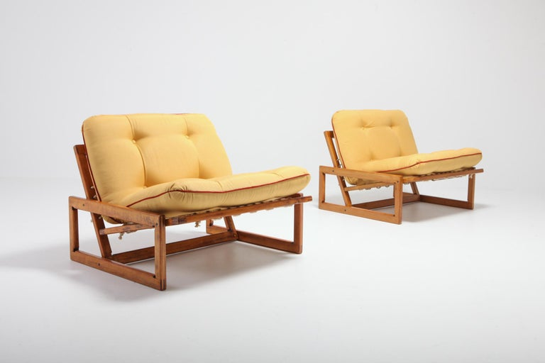 European Afra and Tobia Scarpa Pair of 'Carlotta' Lounge Chairs for Cassina For Sale