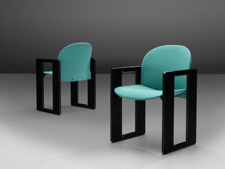 Afra & Tobia Scarpa for B&B, pair of 'Dialogo' dining chairs, black lacquered wood, turquoise fabric upholstery, Italy, 1970s   The 'Dialogo' dining chair was designed by Afra and Tobia Scarpa in the 1970s and convinces with its two angular frames