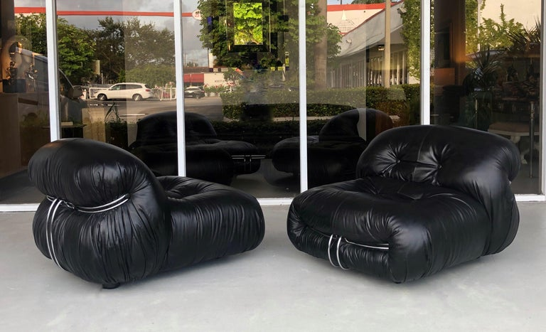 Afra & Tobia Scarpa Pair of Soriana Black Leather Lounge Club Chairs 6