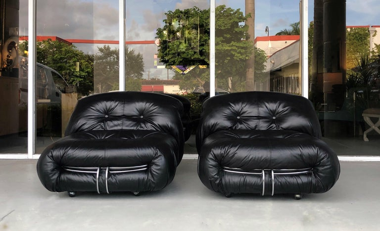 Afra & Tobia Scarpa Pair of Soriana Black Leather Lounge Club Chairs 9