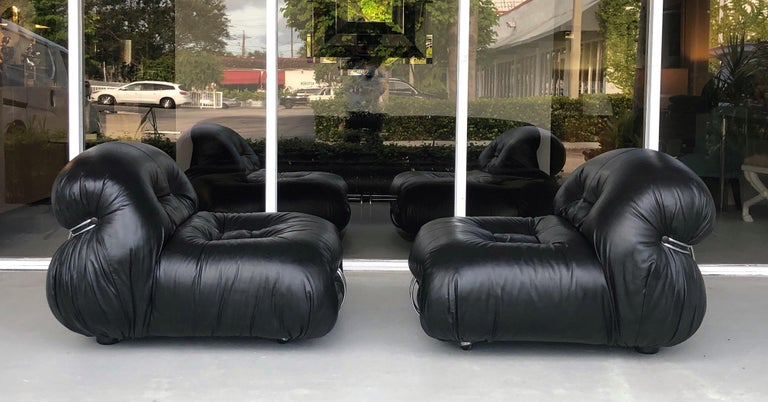Italian Afra & Tobia Scarpa Pair of Soriana Black Leather Lounge Club Chairs