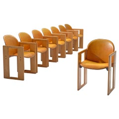 Afra and Tobia Scarpa Set of Eight 'Dialogo' Cognac Leather Dining Chairs