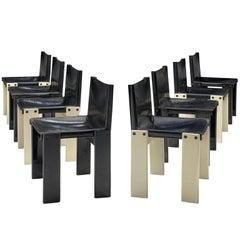 Afra & Tobia Scarpa Set of Eight Monk Chairs in Black and White