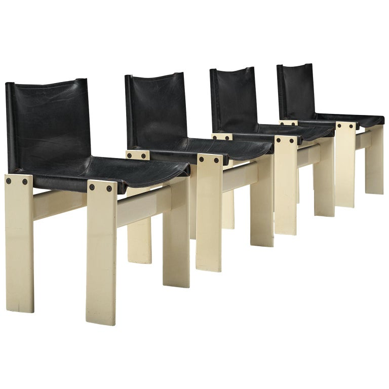 Afra and Tobia Scarpa Set of Four White Monk Chairs For Sale
