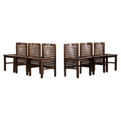 Afra & Tobia Scarpa Set of Six Chairs in Woven Wood, 1960s, Italy