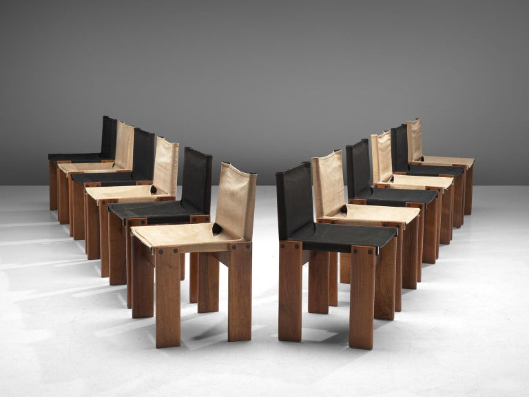 Mid-Century Modern Afra and Tobia Scarpa Set of Twelve Monk Chairs Canvas