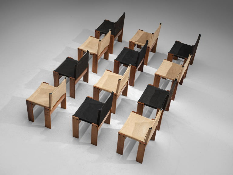 Afra and Tobia Scarpa Set of Twelve Monk Chairs Canvas In Good Condition In Waalwijk, NL
