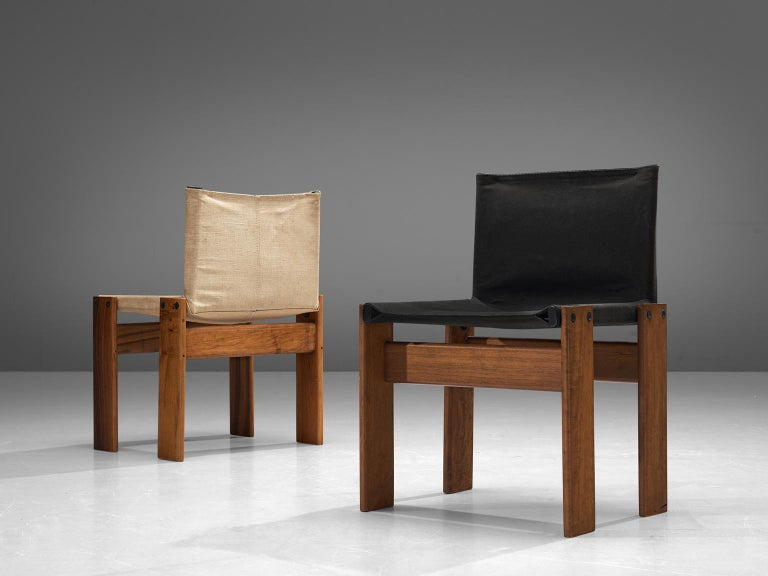 Late 20th Century Afra and Tobia Scarpa Set of Twelve Monk Chairs Canvas