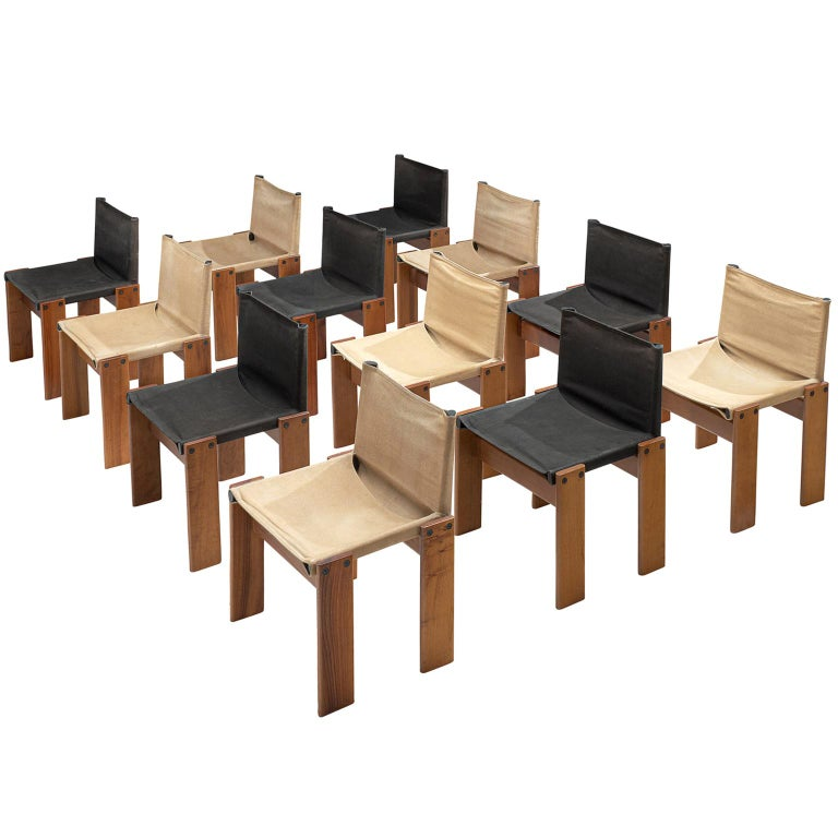 Afra and Tobia Scarpa Set of Twelve Monk Chairs Canvas