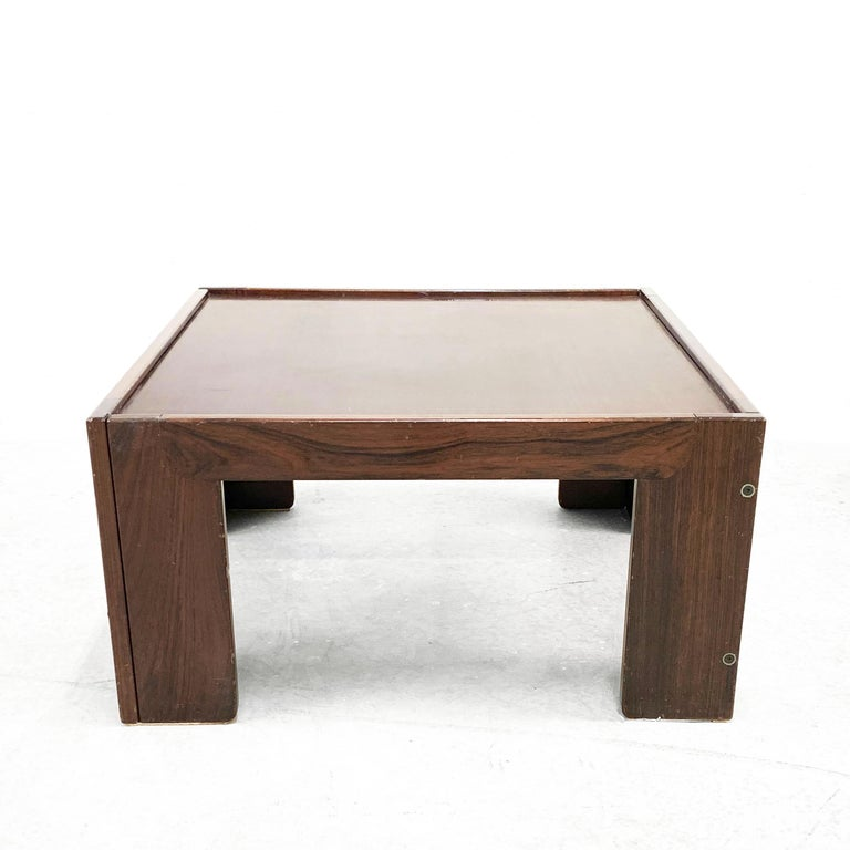 Afra and Tobia Scarpa, Square Table, for Cassina, Italy, 1970s In Fair Condition For Sale In Roma, IT